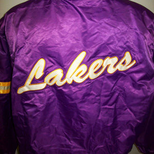 LOS ANGELES LAKERS THROWBACK STARTER JACKET 3X